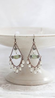 Pearl Chandelier Earrings, Bohemian Wedding Earrings, Statement Earrings,Boho Chandelier Earrings, Artistic Earrings Features fresh water pearls , antique rhinestones, rare faceted raw aventurine gemstones and antique brass chain . With copper lever back ear hooks. These are a