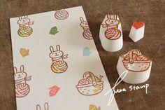 毛糸うさぎの画像:ふわふわ堂 Creative Crafts, Diy And Crafts, Arts And Crafts, Cute Stationery, Stationary, Eraser Stamp, Stamp Printing, All Art, Stencils
