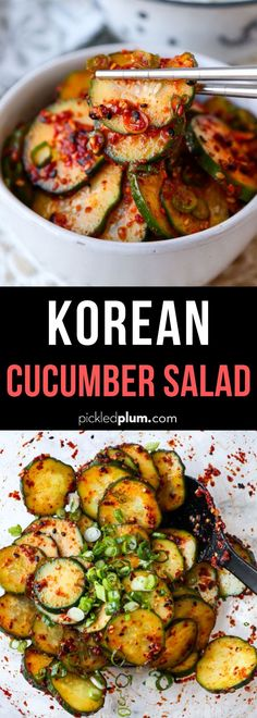This spicy and smoky Korean Cucumber Salad Recipe is ready in 10 minutes and has a refreshing crunch Serve as a side banchan at your next Korean BBQ feast or backyard cookout koreanfood side cucumberrecipe salad spicyrecipe Cucumber Recipes, Healthy Salad Recipes, Spicy Recipes, Vegetarian Recipes, Cooking Recipes, Healthy Food, Korean Food Recipes, Ethnic Recipes, Vegetarian Korean Food
