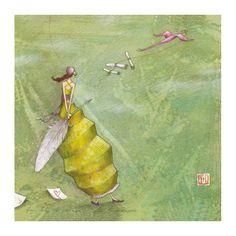 """Carte carrée Gaëlle Boissonnard """"L'oiseau aux courriers"""""""