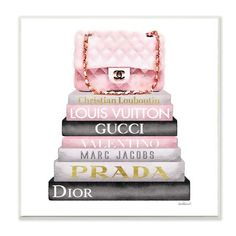 """Stupell Industries 12 in. x 12 in. """" Watercolor High Fashion Bookstack Padded Pink Bag"""" by Artist Amanda Greenwood Wood Wall Art Wall Art chanel wall art Chanel Wall Art, Chanel Decor, Chanel Room, Wood Wall Art, Framed Wall Art, Canvas Wall Art, Pink Wall Art, Canvas Fabric, Chanel Wallpapers"""