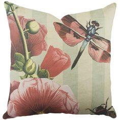 Dragonfly Cotton Throw Pillow