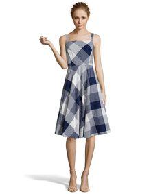 navy gingham cotton sleeveless a-line dress