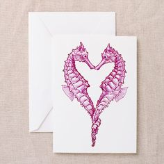 beautiful seahorses in love | Hearts Greeting Cards | Hearts Cards | Greeting Card Templates