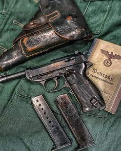 """Walther Veteran bring-back with original holster and spare magazine! Ww2 Veterans, Ww2 Weapons, German Uniforms, Fire Powers, Cool Guns, Military Weapons, Military Equipment, Guns And Ammo, Rifles"