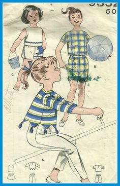 Vtg Girls Top Shorts and Pants Rib Ticklers Applique Pocket CA 1950 60s   eBay