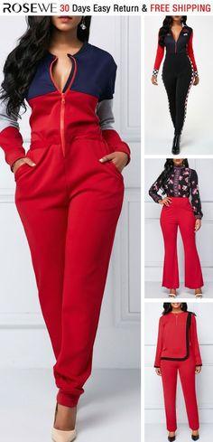 751324eea66 Color Block Zipper Up Long Sleeve Jumpsuit. rosewe jumpsuit Red Jumpsuit
