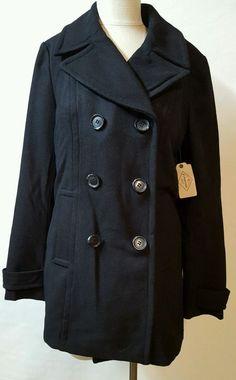 Black Double Breasted Pea Coat Size Medium Tall MT 2 Side Pockets Wool Blend SJB #StJohnsBay #Peacoat #Casual