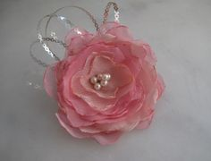 Pink color organza-tulle brooch. from Svetoks waits to you to flower garden by DaWanda.com
