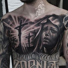 2 days in a row on powered by Bookings open for December and January! Please contact : info with photos of placement and ideas ! Cholo Tattoo, Tattoo Mafia, Chicano Tattoos, Half Sleeve Tattoos Forearm, Full Chest Tattoos, Chest Piece Tattoos, Religious Tattoos For Men, Religious Tattoo Sleeves, Christ Tattoo