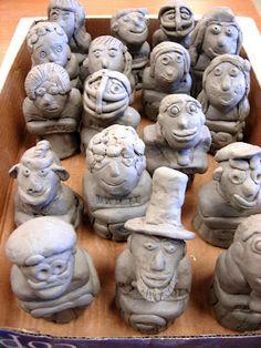 Clay portraits, 5th grade