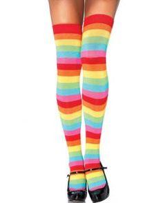 Regenboog kousen, vrolijke kousen voor festivals of gaypride als accessoire.