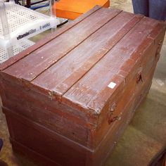 I recently refinished a trunk with the lovely @Emily Pearce.  It's ended up gorgeous!  #before