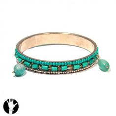 sg paris women bracelet rigid bracelet gold turquoise glass SG Paris. $9.86
