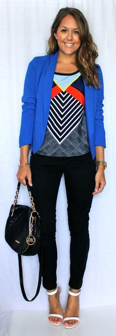 Geometric print, cobalt blazer, black pants and ankle strap shoes. Really love those shoes!