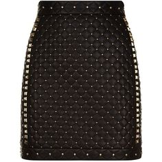 Balmain Studded Leather Mini Skirt ($2,825) ❤ liked on Polyvore featuring skirts, mini skirts, bottoms, short skirts, mini skirt, punk skirt, balmain skirt and quilted skirts