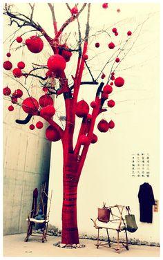 yarn wrapped tree in 798 art district - beijing