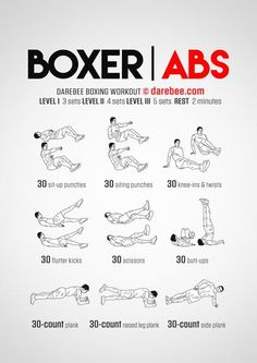 Best abdominal core workouts by Darebee & NeilaRay for stronger abs, allowing you to implement much more variety than your traditional sit-up. Boxer abs aren't only a great way to mix up your workout, but is the best way to build up those abs! Boxer Workout, 300 Workout, Gym Workouts, At Home Workouts, Boxing Workout With Bag, Boxing Training Workout, Kickboxing Workout, Fitness Exercises, Killer Ab Workouts