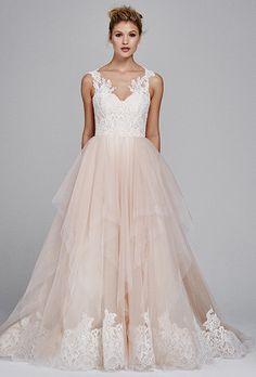 "Brides.com: . ""Azalea"" tulle and Alecon lace wedding dress, Kelly Faetanini"