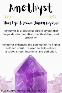 Chakra Crystals, Crystals And Gemstones, Healing Crystals, Chakra Healing, Healing Stones, Amethyst Crystal Meaning, Crystal Meanings, Crystal Guide, Crystals In The Home