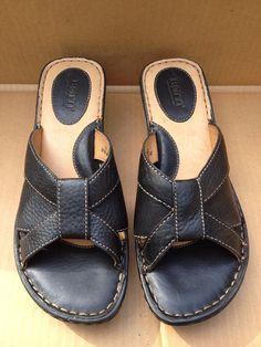 Born black leather slip on wedge sandals women's Sz 10M New #Brn #PlatformsWedges