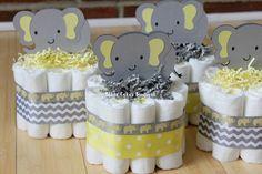 SET OF 4 Mini Yellow and Gray Elephant Diaper Cake, Yellow Gray Elephant Baby Shower
