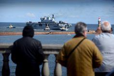 Warship HMS Ocean arrives on Wearside to visit her adopted city Sunderland. Taken 1st May 2015.
