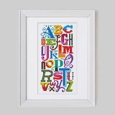 Bright Alphabet - Cross Stitch Pattern (Digital Format - PDF) di Stitchrovia su Etsy https://www.etsy.com/it/listing/187015406/bright-alphabet-cross-stitch-pattern