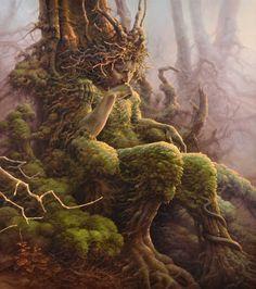 Tomasz Alen Kopera Movement: surrealism Type: oil on canvas Dimensions: 90 x 80 [cm] / x Year: 2017 Fantasy Kunst, Fantasy Art, Magical Creatures, Fantasy Creatures, Art Visionnaire, Visionary Art, Green Man, Gods And Goddesses, Surreal Art