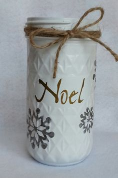 "Snowflake mason jar: Painted white over a silver metallic undercoat (snowflakes are a silver tint). Accented with good vinyl lettering ""noel"" and tied off with twine. Christmas Jars, Etsy Christmas, Christmas Crafts, Craft Day, Ball Jars, Painted Mason Jars, Mason Jar Crafts, Vinyl Lettering, Twine"