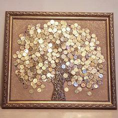 Панно из монет. Ручная работа. Сильный Феншуй талисман для привлечения денег и изобилия в дом. Сияние денег восхищает и завораживает.