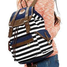 Wowlife Unisex Fashionable Canvas Backpack School Bag Super Cute Stripe School College Laptop Bag for Teens Girls Boys Students (Black)