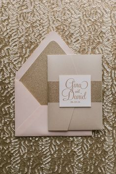 BAILEY Suite // STYLED // Glitter Pocket Folder Package, blush and gold, gold glitter, wedding invitation
