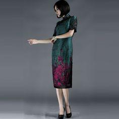 Full Placket Red Flowers Qipao Cheongsam Blue - $526 - SKU: 889690 - Buy Now: http://elegente.com/nzx.html #ChineseladyQipao #Qipao #Cheongsam