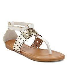 White Laser-Cut T-Strap Sandal #zulily #zulilyfinds