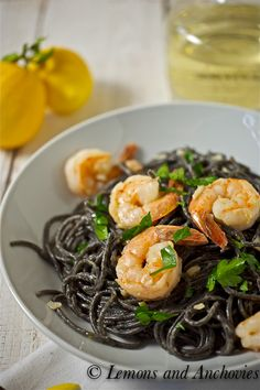 Squid Ink Spaghetti with Shrimp and White Truffle Oil  @Jean Loang | Lemons and Anchovies