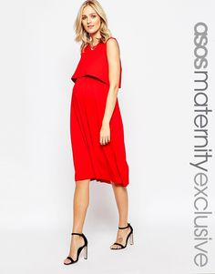 Image 1 of ASOS Maternity NURSING Sleeveless Midi Skater Dress With Double Layer