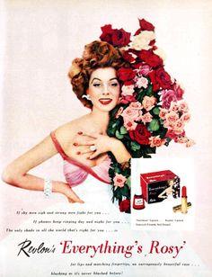 Revlon, 'Everything's Rosy' nail polish and lipstick, 1954 Vintage Makeup Ads, Vintage Nails, Retro Makeup, Old Makeup, Vintage Glamour, Vintage Beauty, Hair Makeup, Vintage Fashion, Vintage Vanity