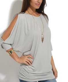 Look at this #zulilyfind! Gray Cutout-Sleeve Scoop Neck Top #zulilyfinds