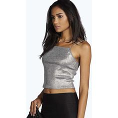 Boohoo Tall Tall Freya Metallic Crop Top ($16) ❤ liked on Polyvore featuring tops, silver, lace camisole tops, body suit, sequin crop top, off the shoulder tops and lace bodysuit