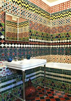 Best bathroom tiles ever - Solange Azagury's house, Architectural Digest