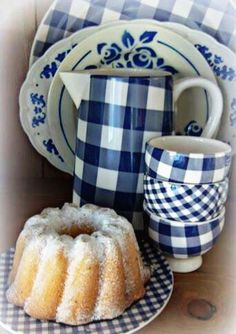 would love several serving pieces of this blue gingham dinnerware as it would look smashing with my dinnerware. Blue And White China, Love Blue, Blue China, White Cottage, Rose Cottage, Country Blue, White Dishes, Blue Gingham, White Decor