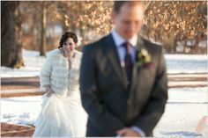 Bride and groom first look | Winter Wedding Photography | Joseph Ambler Inn Wedding Photography | Jennifer Baumann Photography