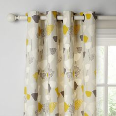 Bohemian Living Room Curtains - John Lewis & Partners Elin Pair Lined Eyelet Curtains, Citrine. Panel Curtains, Lounge Curtains, Gray Curtains, Floral Curtains, Bedroom Curtains, Curtain Poles, Curtain Fabric, Yellow And Grey Curtains, Furniture