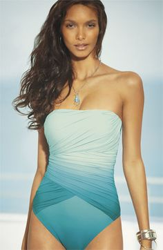 I THINK THIS IS THE SUIT!!! $178 Gottex 'Ombré Goddess' One Piece Bandeau Swimsuit