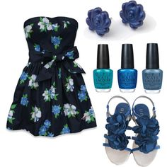 Navy Flowers - Polyvore