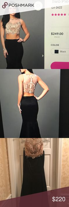 Worn once homecoming/prom dress Skirt can be pulled up higher so there's less belly shown.  Beautiful prom girl dress- still on sale online.  Nude with jewels, two piece, with long mermaid train PromGirl Dresses Prom