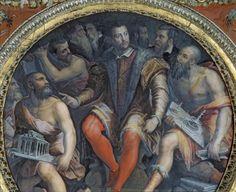 Cosimo I de Medici (1519-1574) and His Artists, from the Sala di Cosimo I (fresco) By Giorgio Vasari. 16th century