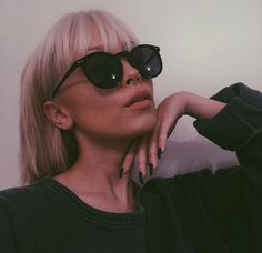 platinum bob with bangs yas