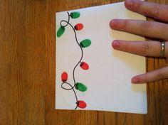 Fingerprint Christmas lights - put on rim of plates Christmas Jesus, Diy Christmas Cards, Xmas Cards, Christmas Art, Christmas And New Year, Diy Cards, Christmas Lights, Christmas Ideas, Jesus Birthday